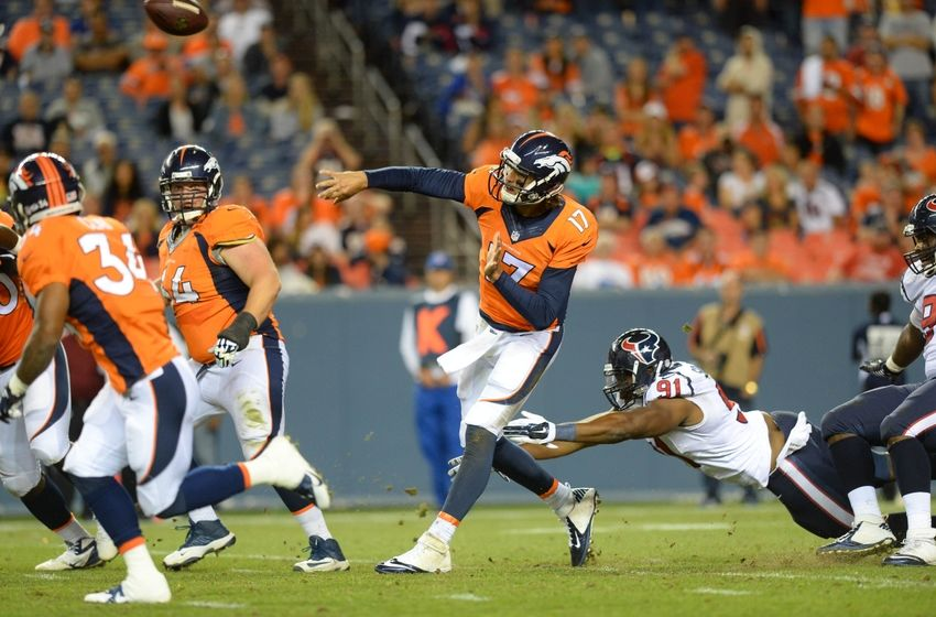 Aug 23, 2014; Denver, CO, USA; Houston Texans defensive end Lawrence Sidbury (91) pressures Denver Broncos quarterback Brock Osweiler (17) late in the fourth quarter of a preseason game at Sports Authority Field at Mile High. The Texans defeated the Broncos 18-17. Mandatory Credit: Ron Chenoy-USA TODAY Sports